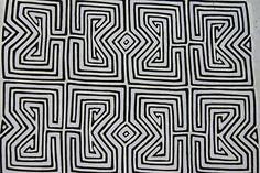 Kuna Geometric Abstract Art Hand Stitched Applique Unique Black & White Mola 6B