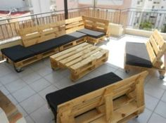 Outdoor furniture made of pallets.