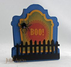 I used Spellbinders Tombstone dies, a Tim Holtz fence die, hanging spider die from Memory Box and Waltzginmouse Stamps for this cute shape card!