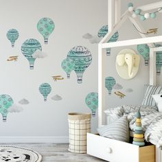 Browse wall decals for baby rooms, nurseries, playrooms, toddler and children's rooms at Project Nursery. Our wall stickers for the nursery come in many styles. Balloon Wall, Hot Air Balloon, Balloons, Vinyl Wall Decals, Wall Stickers, Decoracion Habitacion Ideas, Nursery Decor, Wall Decor, Nursery Ideas