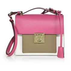 Salvatore Ferragamo Marisol Small Multicolor Leather Crossbody Bag ($1,945) ❤ liked on Polyvore featuring bags, handbags, shoulder bags, apparel & accessories, leather crossbody, leather handbags, crossbody handbags, pink leather handbag and leather shoulder handbags