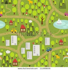 Cartoon Map Of Small Town And Countryside. Stock Vector - Illustration of road, building: 32874050 Winter Breaks, City Landscape, Beautiful Patterns, Small Towns, Wall Murals, Countryside, Vector Free, Map, Illustration