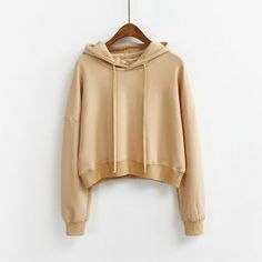 77455bc4418 2017 Spring Autumn Women Casual Hoody Pullovers New Long Sleeve Loose Solid Hooded  Sweatshirt Women Clothes Cropped Tops