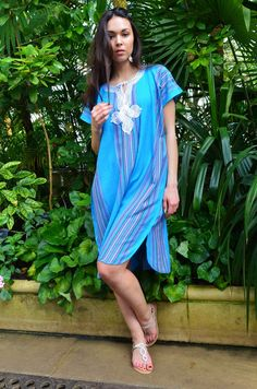 2fca3c55b56 New Turquoise Blue Bedouin Resort Short Tunic Caftan Kaftan - Summer dress