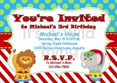 Circus theme party invitation too cute