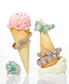 Precious Jewellery on ice cream cones, David Morris jewellers, diamonds, Tatler…