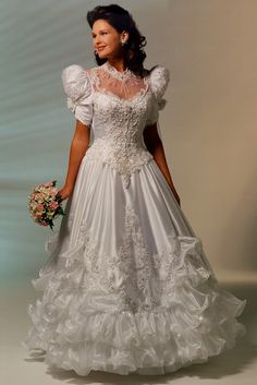 "https://flic.kr/p/DoGssv | White Bridal Gown with Ruffle Skirt | From the 1990s Web site ""Sylvia Aster's Bridal Parlor"""