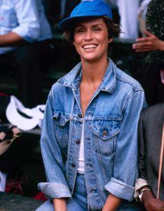 Lauren Hutton in a baseball cap & jean jacket #style #fashion #celebrity