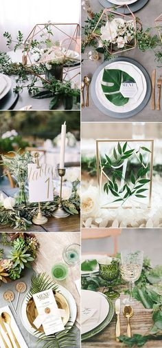 botanical greenery wedding table setting ideas for 2017 trends