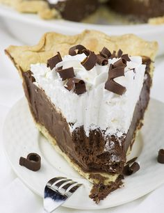 French Silk Pie is chocolate lovers dream. Flaky and buttery homemade pie crust with rich and silky chocolate filling.