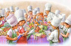 Les Amis de Martine font la cuisine Marcel, Illustration Photo, Illustrations, Sarah Kay, Decoupage, 1970s Childhood, Vintage Children, Painting Inspiration, Cartoon Art