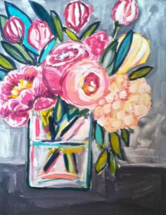 Floral Gems, 11 x 14 Acrylic on Canvas – Evelyn Henson