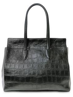 Croc Embossed Nappa & Suede Tote Bag