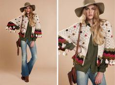 Me encantan los sacos tejidos siempre que sean originales,   elaborados con creatividad,   combinando crochet...