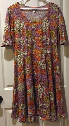 Lularoe Women's Dress Size 3XL NWOT Nicole Brown Orange Beige  #LulaRoe #AsymmetricalHem #Casual
