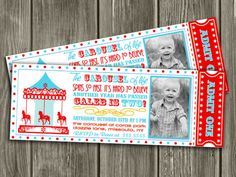 Printable Vintage Carousel Ticket Birthday Invitation | Carnival | Kids Birthday Party Idea | FREE thank you card | Become a loyal fan on Facebook to receive freebies and see the latest designs! www.facebook.com/DazzleExpressions