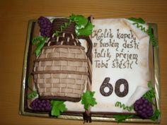 cake book dort kniha se soudkem vína