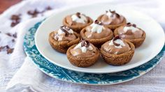 Mini French Silk Pies with a chocolate chip cookie crust are an easy and delicious dessert.