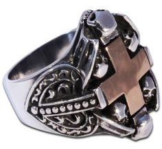Gothic Ring With Huge Brass Cross