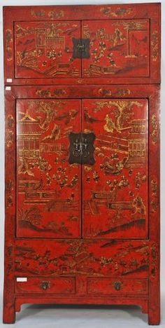 BK0018Y-Rare Antique Chinese Cabinet with Matching Painted Trunk, circa 1800, Shanxi Province China, $6,500.00