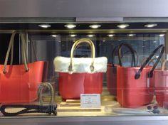 Red Fullspot O Bags with white fur trim. #fullspot #obag #handbags #Red
