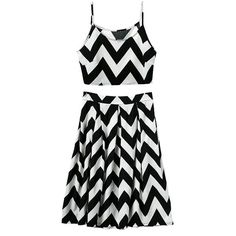 Chevron Stripe Midi Skirt And Crop Top Set ($19) ❤ liked on Polyvore featuring dresses, stylemoi, two piece and vestidos