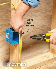 mark where cable penetrates box and remove sheathing before pushing through box