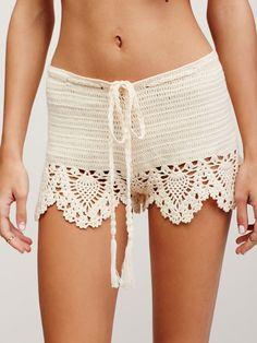 Crochet Babe Shorts | Cotton crochet shorts featuring a contrast crochet hem with scalloped trim. Drawstring waistband.