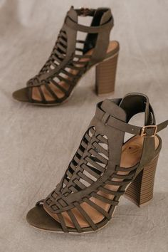 Open-toe, caged detail sandals boho, tan, faux leather, scrappy, woven, block heel, sandals. bohemian style, spring, summer, fall, sexy, olive, dark green, olive green, grayish olive