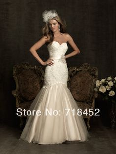 2014 Convertible Wedding Dresses Mermaid Top Lace Bridal Gown Sweetheart Organza Low Back  Free Shipping NW448