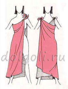 платье для пляжа из двух платков