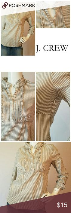 J.CREW RUFFLE SHIRT Super cute J.Crew Pheasant shirt with rufgle and pintuck detail.  Side zipper.  Excellent condition. Ivory with black pindot stripes. J. Crew Tops Button Down Shirts