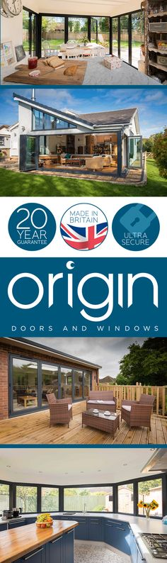 Origin are the UK's leading manufacturer of bespoke aluminium bi-folding doors and windows. Cabin Plans, House Plans, Glass Extension, Extension Ideas, Bungalow Conversion, Exterior Remodel, House Extensions, Open Plan Living, House Rooms
