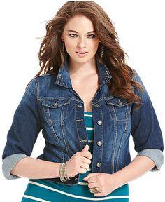 Jessica Simpson Plus Size Jacket, Rhinestone-Collar Denim, Waverly Wash - Plus Size Jackets & Blazers - Plus Sizes - Macy's. plus size fashion