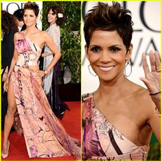 The Rabbit's Overalls - Halle Berry in a printed Versace, with a high slit