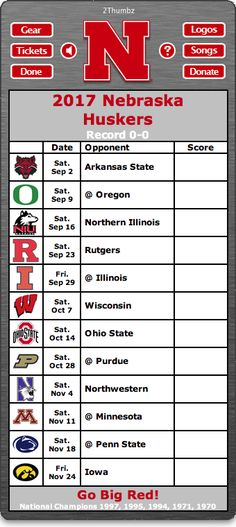 BACK OF MAC APP - 2017 Nebraska Huskers Football Schedule App for Mac OS X - Go Big Red! - National Champions 1997, 1995, 1994, 1971, 1970 Download yours at: http://2thumbzmac.com/teamPages/Nebraska_Huskers.htm