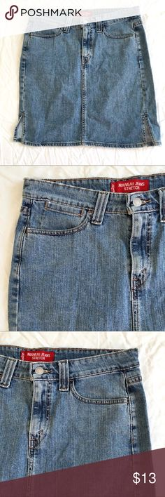 """Levi's Faded Blue Denim Short Straight Skirt Sz10 Levi's, Faded Blue Stretch Denim Short Straight Skirt, 3-Pockets, zip button fly, 4"""" side slits at hem, red logo tab on back. Excellent Condition. Measures 33"""" Waistband, 20"""" long. BUNDLE and SAVE Levi's Skirts Pencil"""