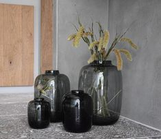 Room Inspiration, Interior Inspiration, Black Decor, Black Glass, Home Renovation, Glass Vase, Candle Holders, Sweet Home, Interior Design