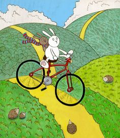 Reckless Bunny Red Bicycle Art Print by SepiaLepus on Etsy
