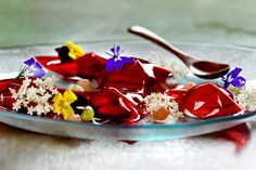 Fou Zoo dessert: Two variations of hibiscus in captivating gelee with fresh exotic cantaloupe, papaya and kiwi.