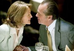 Romance movies for grownups:     Something's Gotta Give ﴾2003﴿:   Jack Nicholson and Diane Keaton star as a successful 60‐something and 50‐something who find love for each other later in life, despite being complete opposites. Keanu Reeves and Amanda Peet co‐star, with Frances McDormand, Paul Michael Glaser, Jon Favreau, and KaDee Strickland playing key supporting roles.