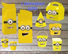 Despicable Me Minions Goggles and Mouths (Faces) Printable for Cups, Hats, Favors Bags, Treat Boxes, Decorations (Instant Download)