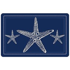Add a decorative oceanic touch to any room with the Bungalow Flooring Nautical Sea Star Accent Kitchen Mat. This durable mat features a woven, anti-fade face that captures the colors and graphics of its design in near photographic quality. Bungalow, Coastal Rugs, Coastal Style, Coastal Living, Nautical Bathrooms, Nautical Home, Nautical Kitchen, Polypropylene Rugs, Personalized Door Mats