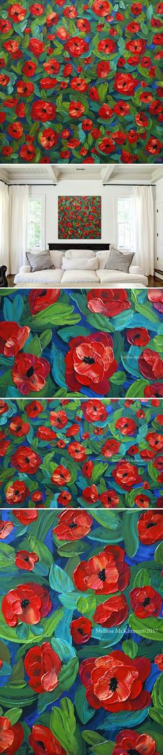 "MELISSA MCKINNON Contemporary Abstract Landscape Artist features BIG COLOURFUL PAINTINGS of Flowers, Aspen & Birch Trees, Rocky Mountains and stunning views of the Canadian prairies, big skies and ocean beaches. Floral Art - Abstract floral painting of red poppy flowers in a field of vibrant green leaves. ""Poppies in Bloom"" 48""x48"""