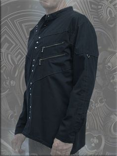 cool gotic shirt with zipper pockets