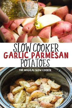 Slow Cooker Garlic Parmesan Potatoes are perfectly seasoned potato wedges that turn out creamy on the inside! and Drink slow cooker Slow Cooker Garlic Parmesan Potatoes Crock Pot Slow Cooker, Slow Cooker Recipes, Beef Recipes, Cooking Recipes, Potato Recipes Crockpot, Crockpot Meals, Vegetarian Recipes, Healthy Recipes, Slow Cooker Garlic Parmesan Potatoes