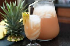Ruby Relaxers ~ Malibu rum, vodka, peach schnapps, cranberry & pineapple juices, fresh pineapple ~ WOW!