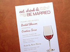 Bridal Shower Invitations, Eat Drink & Be Married, Wine Theme, 10-Count on Etsy, $13.50