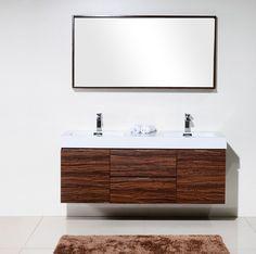 """60 Inch Bathroom Vanity Double Sink Canada bliss 80"""" high gloss gray oak wall mount double sink modern"""