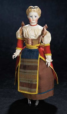 Early German Bisque Lady by Simon and Halbig, Sculpted Brown Hair, Original Costume 1200/1600 .'